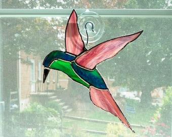 Stained Glass Hummingbird Suncatcher, Green and Purple Bird, Stained Glass Bird, Bird Art, Bird Lover Gift, Nature Decor, Hostess Gift