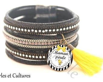 Cuff Bracelet gift for MOM - mother hen - yellow chick bow cabochon silver yellow black tassel