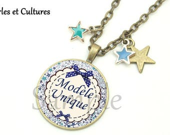 Liberty necklace one cabochon white blue stars bow-great gift idea