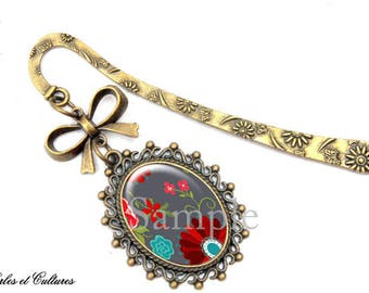 Bookmark knot Love gray red multicolor cabochon Butterfly flower beads