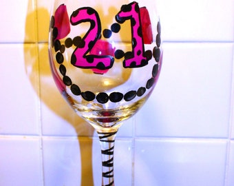 21st Birthday Gift for her, 21 birthday wine glass, Heels and Pearls, Hot Pink, 21