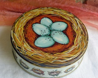 Dept 56 Tin, Bird Nest - Round, Blue Eggs, Various Species Bird Nests  - Vintage  - Fabulous!