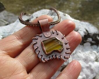 Unique copper necklace with rare genuine yellow sea glass