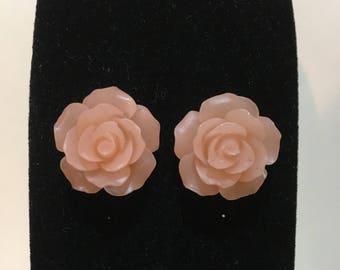 Pink Rose Earrings Silvertone Stainless Steel Pierced