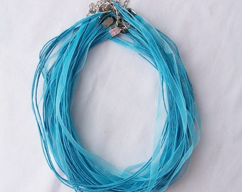 30 Blue organza ribbon and cord necklaces - cord necklace making - jewelry making supplies - organza ribbon for necklaces - beading supplies