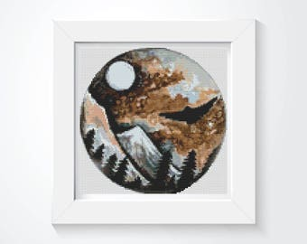 Over the Mountains Cross Stitch Pattern PDF, CIRCULAR Cross Stitch Chart, Art Cross Stitch, Embroidery Chart (C016)