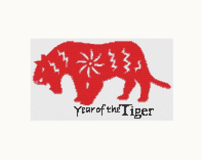 Year of the Tiger, Chinese Zodiac Cross Stitch, Art Cross Stitch (TAS115)