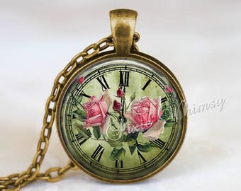 VINTAGE CLOCK FACE Pendant Necklace Jewelry or Keychain, Shabby Pink Roses, Pink Cabbage Roses, Vintage Victorian Clock Face