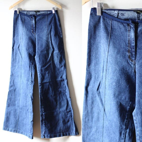 1970s bell bottom jeans // vintage pocketless denim // vintage jeans
