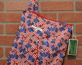 Medium Knitting Bag, Crochet, Knit, Yarn, Wool, American Flag, Yarn Storage, Yarn Bag with Hole, Grommet, Handle, MYB11
