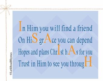 Prayer Printable Inspirational Quote Print Christian Nursery Religious Baby Gift Baby Boy Christening Baptism Gift For Godson 8x10 Isaiah