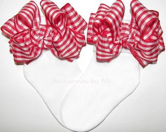 Gingham Bow Socks, Red Picnic Plaid Socks, Red Check Ribbon Socks, Infant Gingham Socks, Baby Girls Little Riding Hood Sock, Cowgirl Pageant