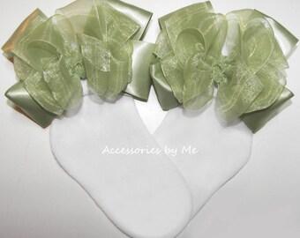 Sage Green Socks, Green Organza Socks, Sage Green Organza Satin Bow Socks, Baby Easter Socks, Green Flower Girls Socks, Green Wedding Socks