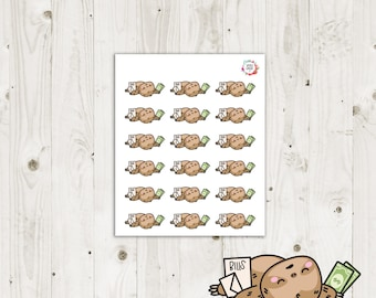 Lazy Sloth Pay Bills Planner Stickers - ECLP Stickers