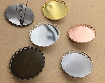 20 pcs brooch settings bezel blanks 25mm brass base