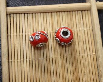 2 hand made Indonesian beads ethnic pandora style