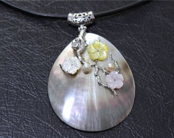 beautiful mother of Pearl drop shape charm pendant