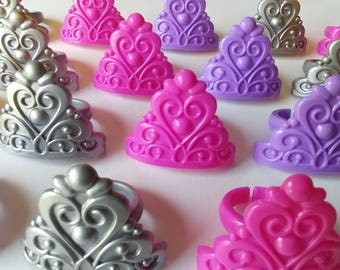 24 PRINCESS QUEEN CROWNS Movie rings cupcake toppers cake birthday party favors tiara pink purple silver Quinceañera sweet 16 beauty pageant