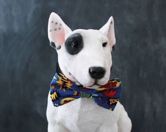 Comic Dog Bow Tie Attaches to Collar, Superhero Dog Photography Prop, Dog Clothes Handmade in the USA- Comic Book Actions