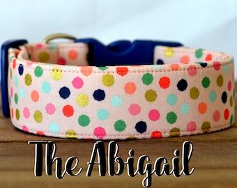 """Playful Multi-Color Blush Polka Dot Dog Collar """"The Abigail"""""""