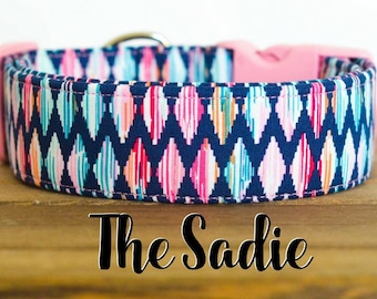 "Modern Colorful Girly Aztec Inspired Dog Collar ""The Sadie"""