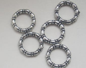 Ring silver 15mmx5 ccb beads