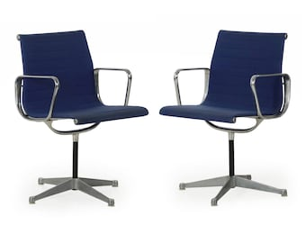 Early Pair of Charles Eames for Herman Miller EA108 Office Swivel Chairs c. 1960s