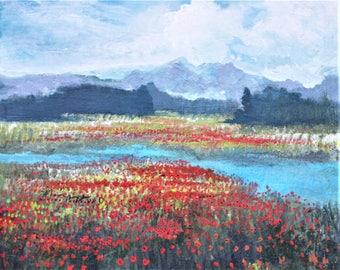 Poppie Field With Mountain- digital print