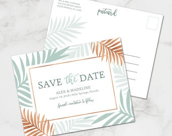 Tropical Save the Date Printable // Copper Wedding // Palm Save the Date for Beach Wedding // Mint and Copper Wedding // Palm Impression