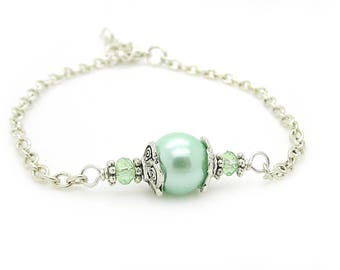 Mint Bridesmaid Bracelet, Mint Pearl Jewellery, Light Green Bridal Sets, Pastel Jewellery, Simple Pearl Jewellery, Bridal Party Gifts