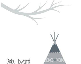 Scandinavian Baby Shower Fingerprint Tree Tee Pee Personalised Printable Nordic Showered with Love