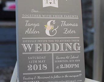 Slate grey rustic Wedding invitations + honeymoon poem digital printable