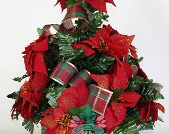 Beautiful XL Christmas Red Poinsettias Cemetery Vase Arrangement
