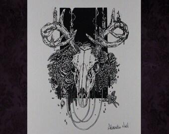 Deer Skull and Flowers Variation Print
