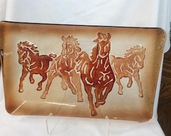 Vintage Running Horses serving tray