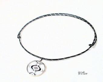 aluminum Choker necklace adjustable black and white CO672