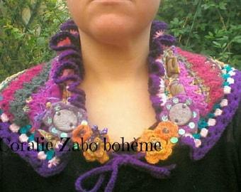 Châle originale fait-main au crochet-châle femme-châle bohème multicolore en laine, tissu et coton lin mélangé