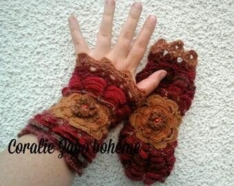 Mitaines femme en laine-mitaines automne feerique-mitaines crochet originales made in France