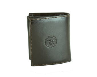 Men's Black Brown Quarter Fold Genuine Leather Wallet Cash Coins Money ID Slot Cards Gift 213