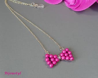 """Necklace """"Butterfly"""" beads magic fuchsia, silver chain"""