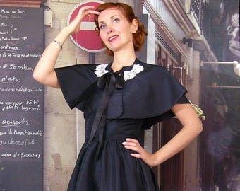 Retro Black Lace taffeta cape capelet white Corolla custom retro formal wear