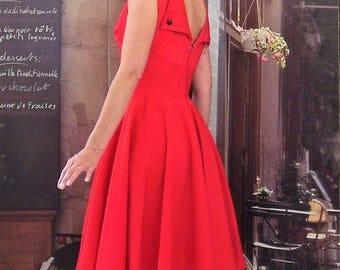 Rockabilly dress retro red cotton sateen Halter circular wedding
