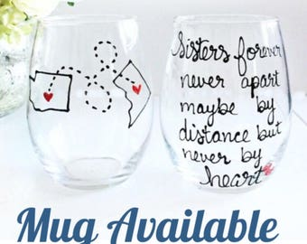 Sisters Gift- Sister Wine Glass- Hand Painted Wine Glass - Sister Birthday Gift- Personalized Gift- Custom Wine Glass, Mother Day Gift