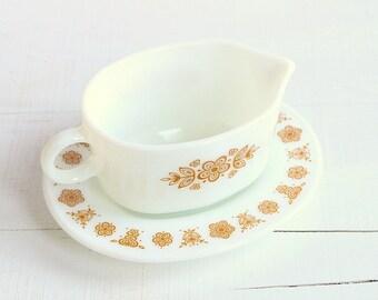 Pyrex Butterfly Gold Gravy Boat - Pristine!