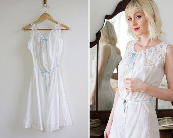 vintage 1910s nightgown | edwardian chemise step in | edwardian slip | victorian underwear | edwardian undergarment