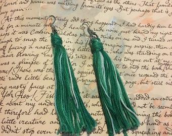 Green/White Tassel Earrings