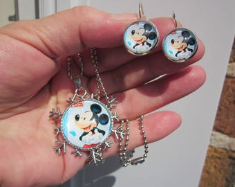 Summer Sale! CHRISTMAS in July! Disney Mickey Mouse printed image glass cabochon necklace & earrings set