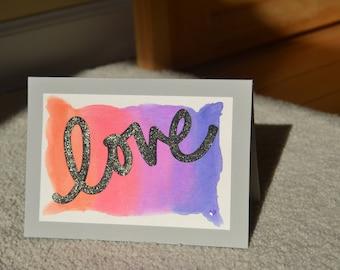 Handmade love card, I love you card, Handmade greeting card.