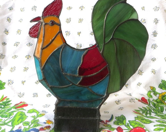 Vintage Rooster Candle Holder, Stained Glass Rooster, Votive Holder, Farmhouse Decor, 10 Inch