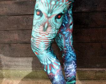 Yoga Leggings , Printed Leggings , Yoga Pants , Womens Activewear , green , owl pants , bird , Womens Leggings , Sexy Pants , Boho Leggings